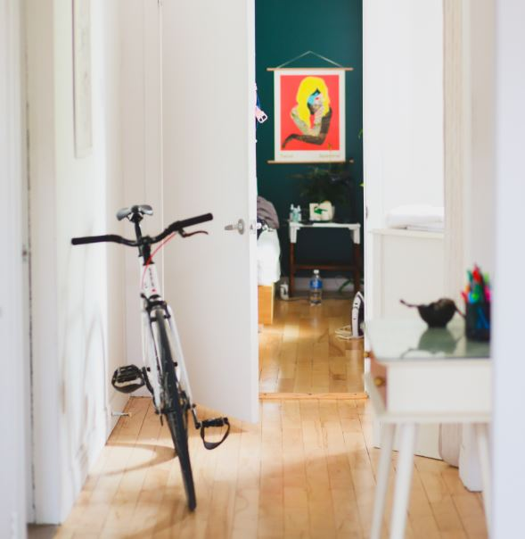 A push bike inside a home
